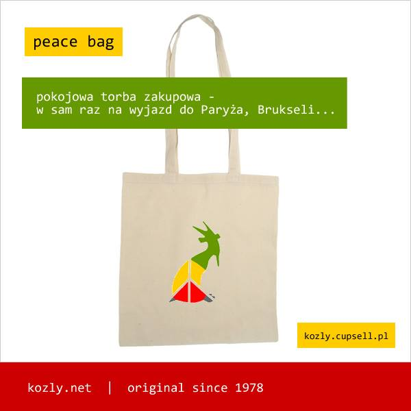 kozioł peace bag - idealna na podróż do Paryża, Brukseli...